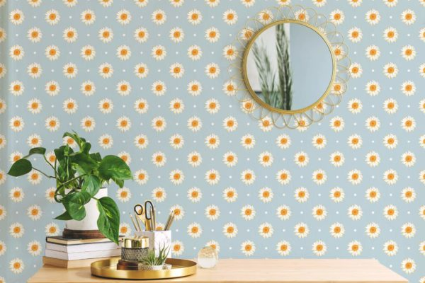 white and blue daisy polka dots removable wallpaper