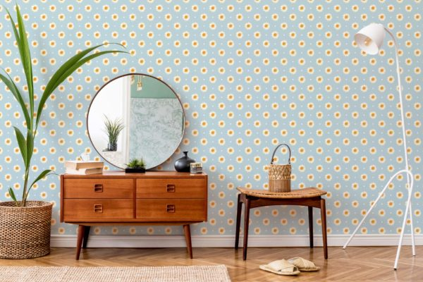 white and blue daisy polka dots self-adhesive wallpaper