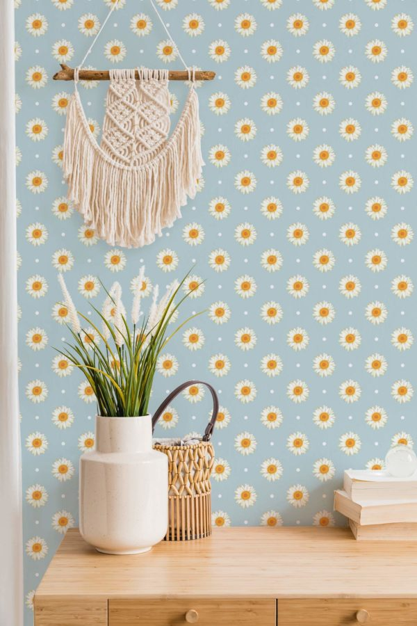 white and blue daisy polka dots peel and stick wallpaper