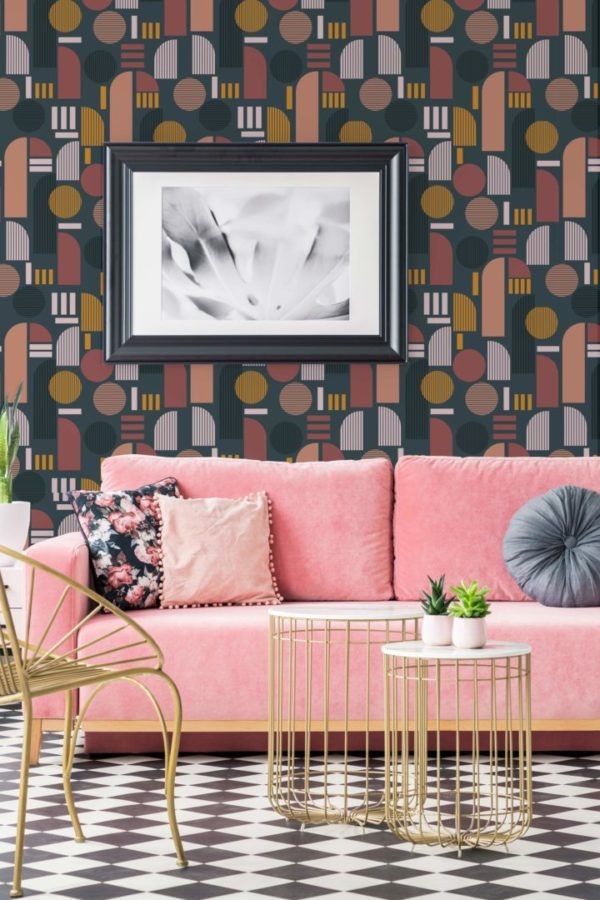 beige and brown dark arch self-adhesive wallpaper