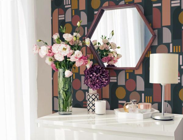 beige and brown dark arch wallpaper roll