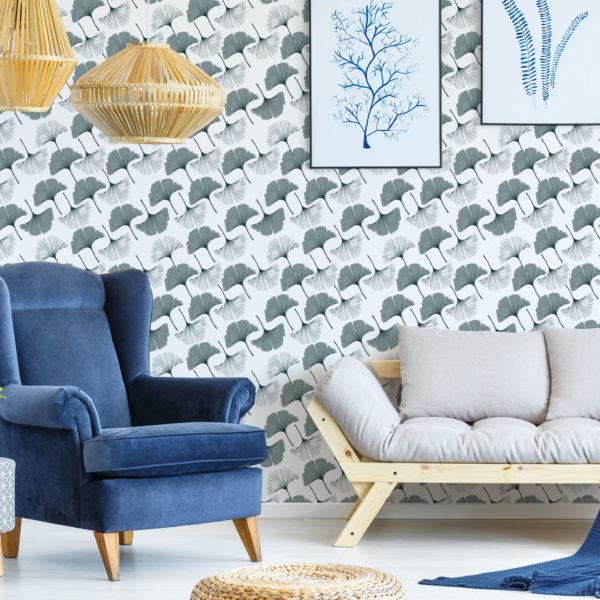 green diagonal gingko peel and stick removable wallpaper
