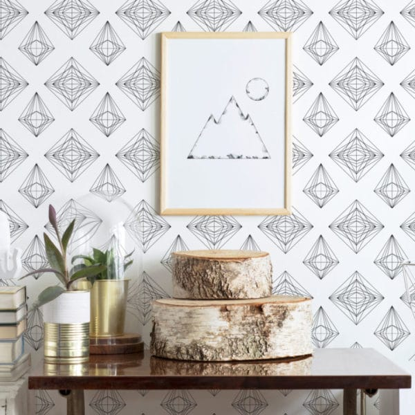 black and white diamond line art peel and stick removable wallpaper