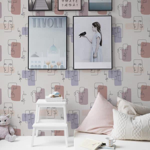 Eclectic beige face pattern wallpaper