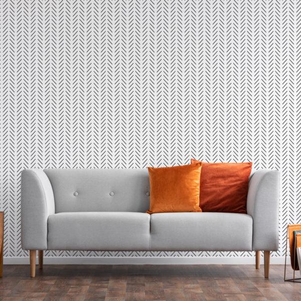 elegant herringbone stick and peel wallpaper