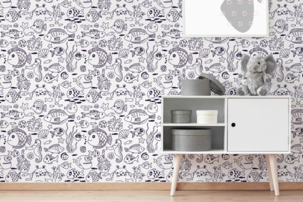 blue and white fish self-adhesive wallpaper