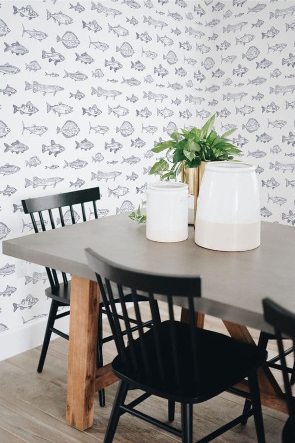 with wallpaper in kitchen