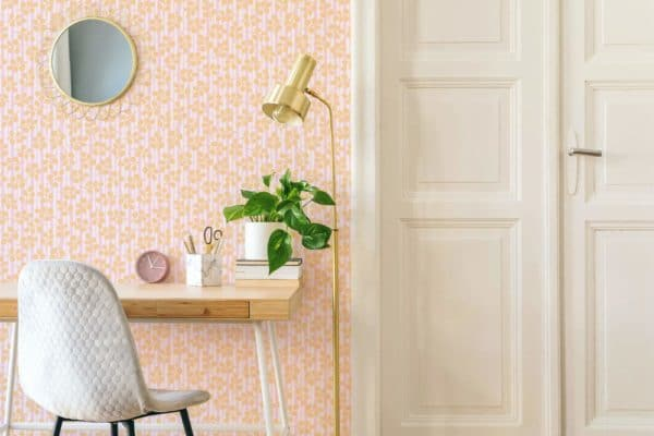 orange floral and stripes wallpaper peel and stick