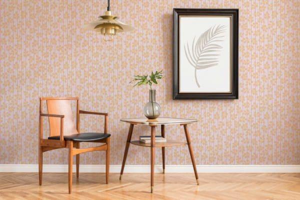 orange floral and stripes wallpaper roll