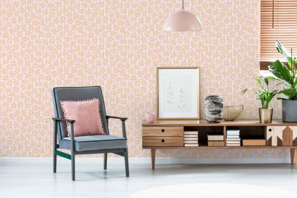 orange floral and stripes removable wallpaper