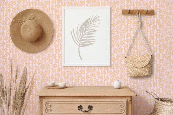 orange floral and stripes self-adhesive wallpaper