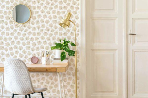 beige floral self-adhesive wallpaper