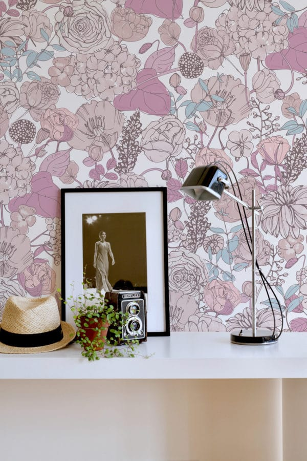 pink and beige floral wallpaper peel and stick