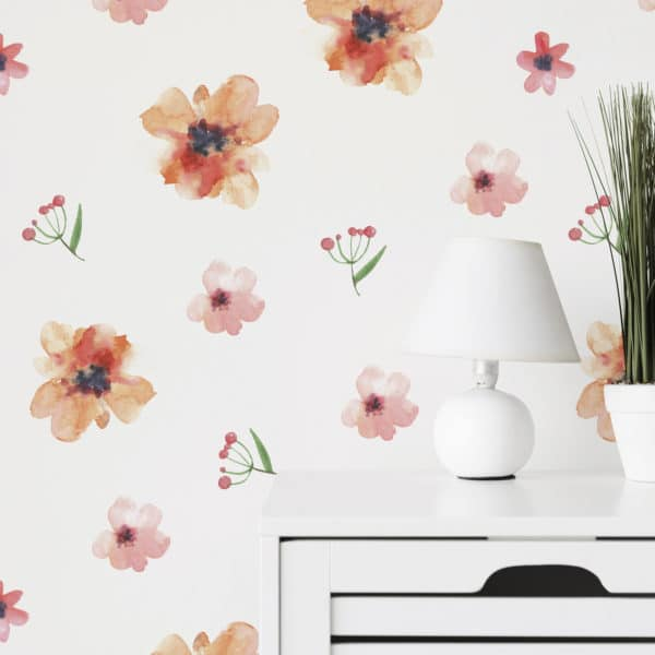 red floral nursery wallpaper peel and stick