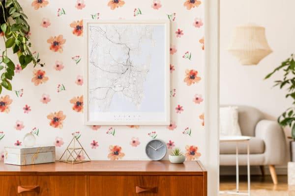 red floral nursery wallpaper roll