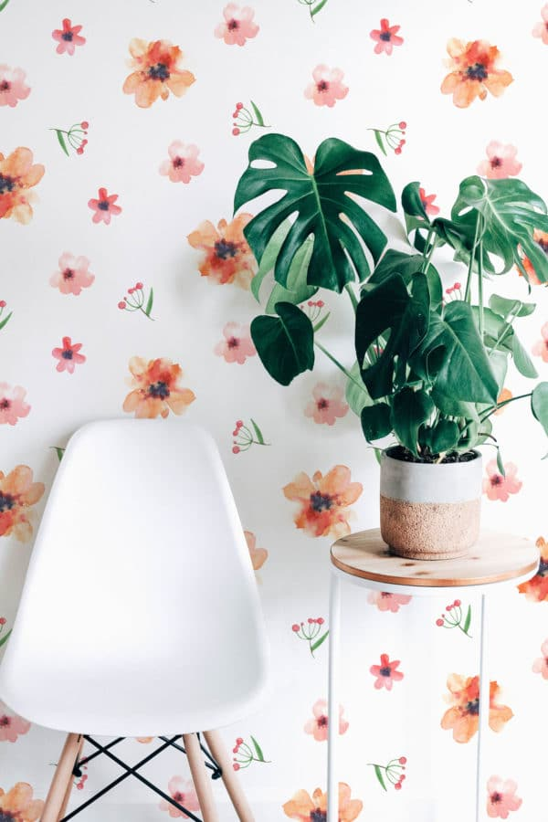 red floral nursery removable wallpaper