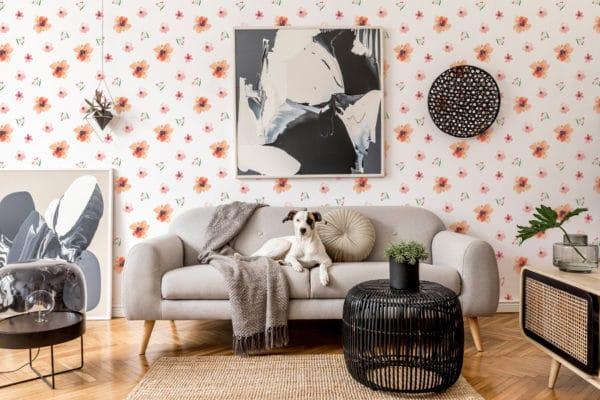 red floral nursery self-adhesive wallpaper