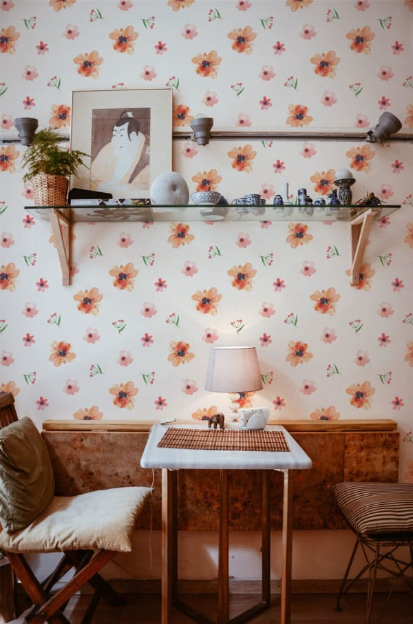 red floral nursery peel and stick wallpaper