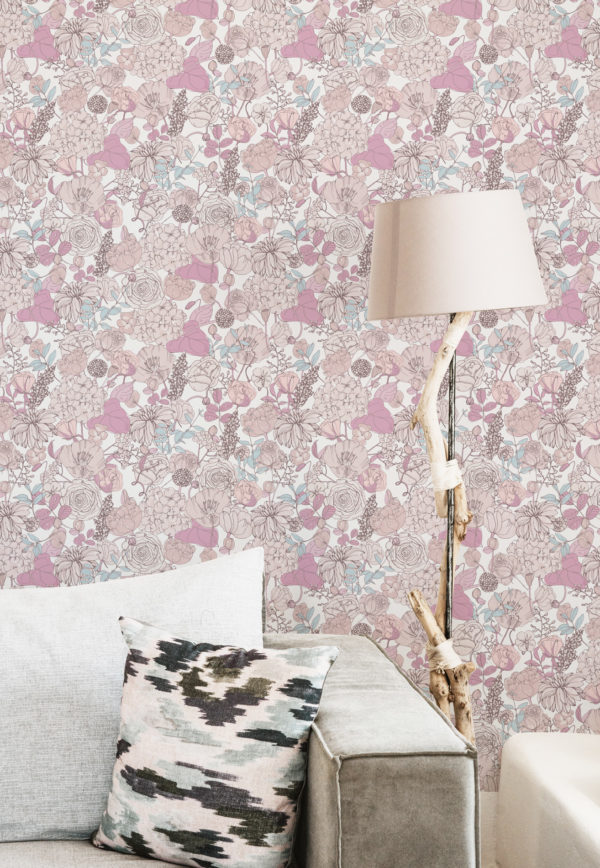 pink and beige floral wallpaper roll