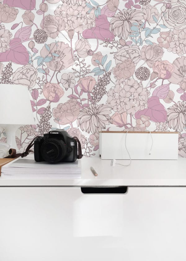 pink and beige floral removable wallpaper