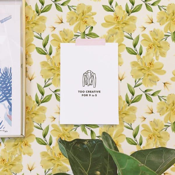 yellow floral self-adhesive wallpaper