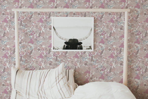 pink and beige floral self-adhesive wallpaper