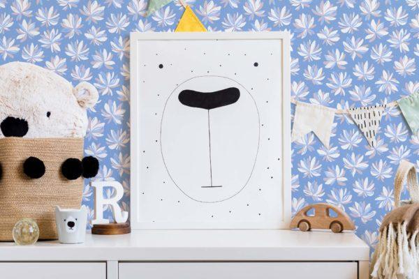 white floral self-adhesive wallpaper