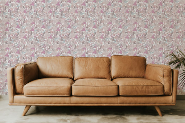 pink and beige floral peel and stick wallpaper