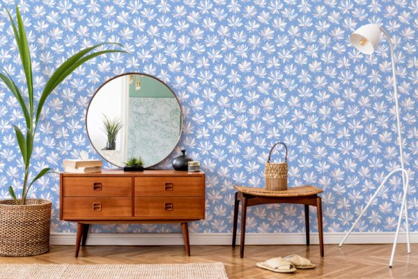 white floral peel and stick wallpaper