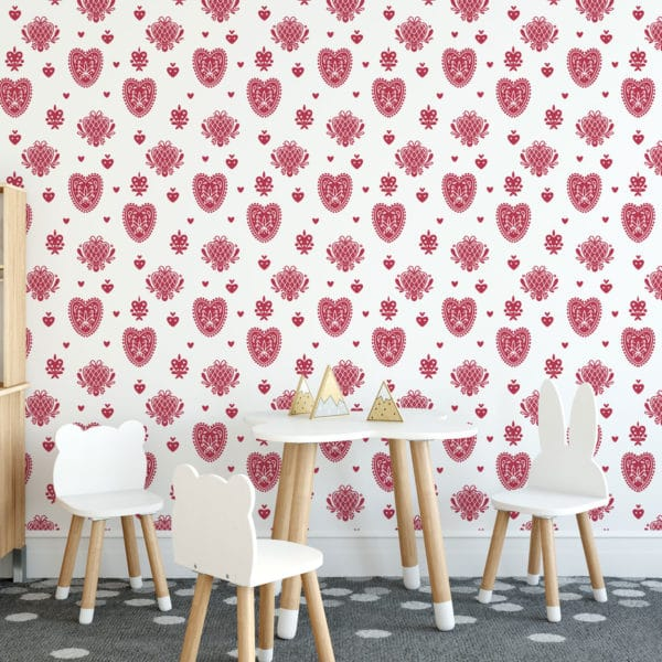 red and white folk heart peel and stick wallpaper