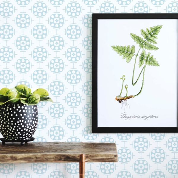 blue geometric self-adhesive wallpaper