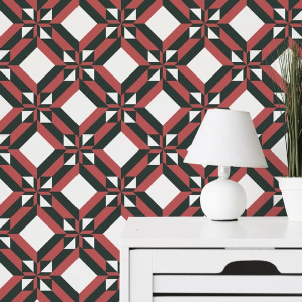 black and red geometric peel and stick removable wallpaper