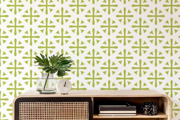 green geometric wallpaper roll