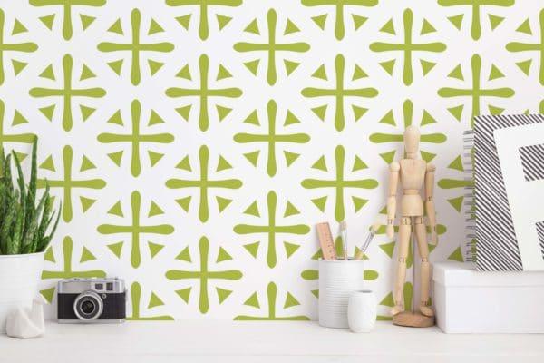 green geometric removable wallpaper