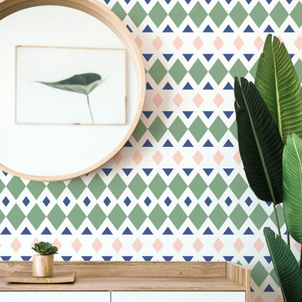 green geometric rhombus self-adhesive wallpaper