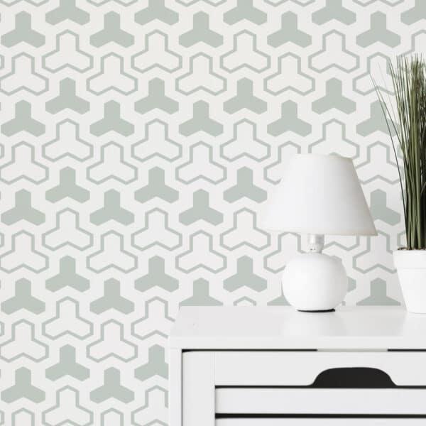pistachio geometric shapes peel and stick wallpaper