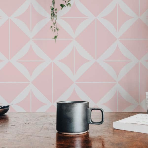 pink geometric square wallpaper roll