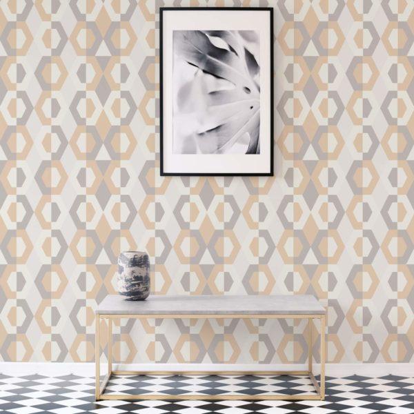 beige geometric wallpaper roll