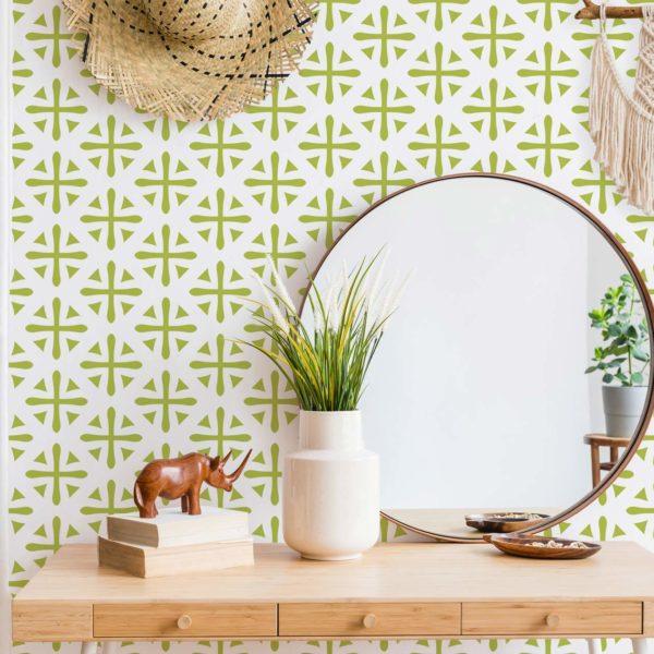 green geometric peel and stick wallpaper