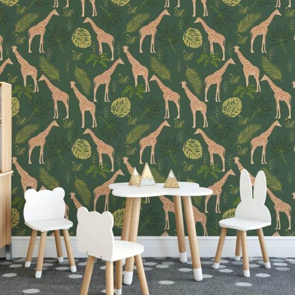 green giraffe self-adhesive wallpaper