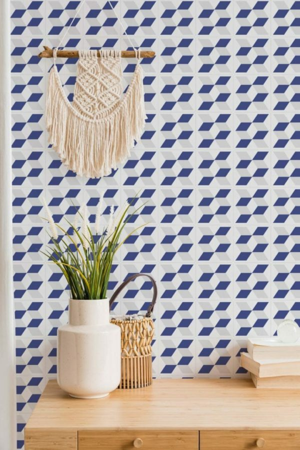 gray and blue cube pattern peel and stick wallpaper