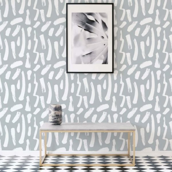 gray and white brush stroke peel and stick wallpaper