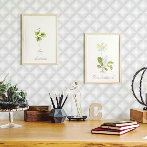 gray and white diamond pattern peel and stick wallpaper