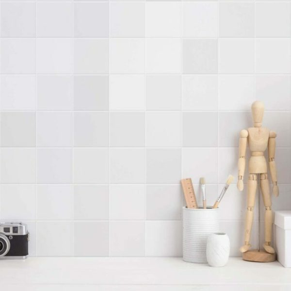 gray and white medium tile pattern peel and stick wallpaper