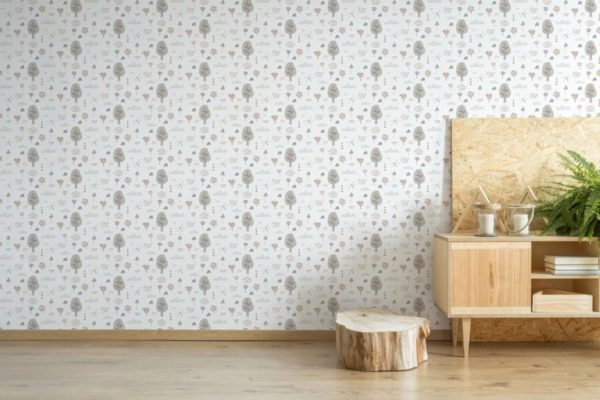gray boho forest removable wallpaper