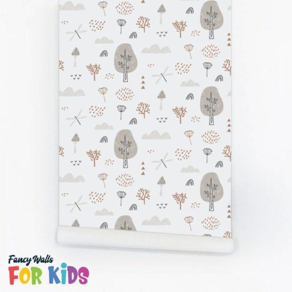 gray boho forest wallpaper roll
