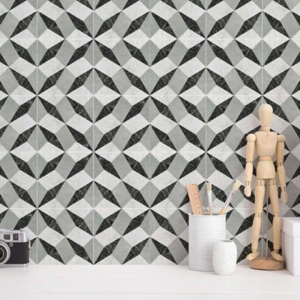 gray geometric tile wallpaper roll