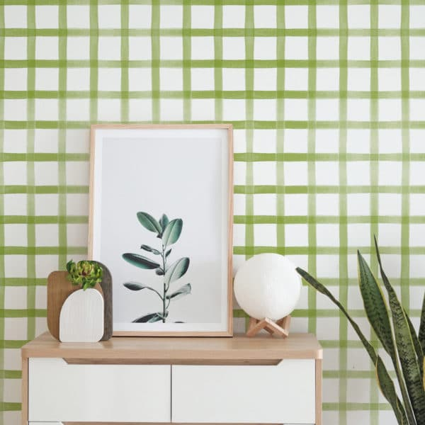 gingham stick and peel wallpaper