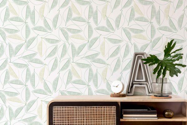 green leaf line art removable wallpaper