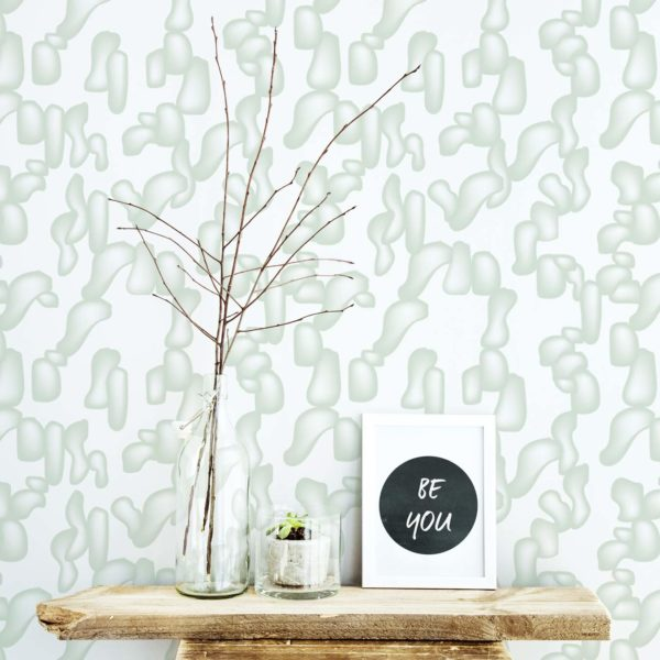green modern shapes removable wallpaper